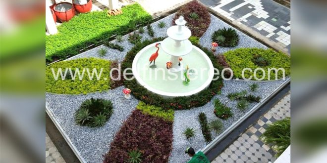 Así luce el patio tropical del palacio municipal de Ciénaga