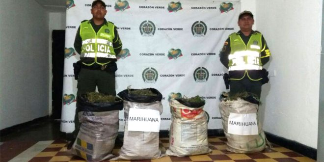 Policía incauta 200 mil gramos de marihuana con un valor que supera los 100 millones de pesos