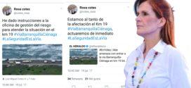 La gobernadora Rosa Cotes interesada por el kilómetro 19, mientras las comunidades estaban en emergencia